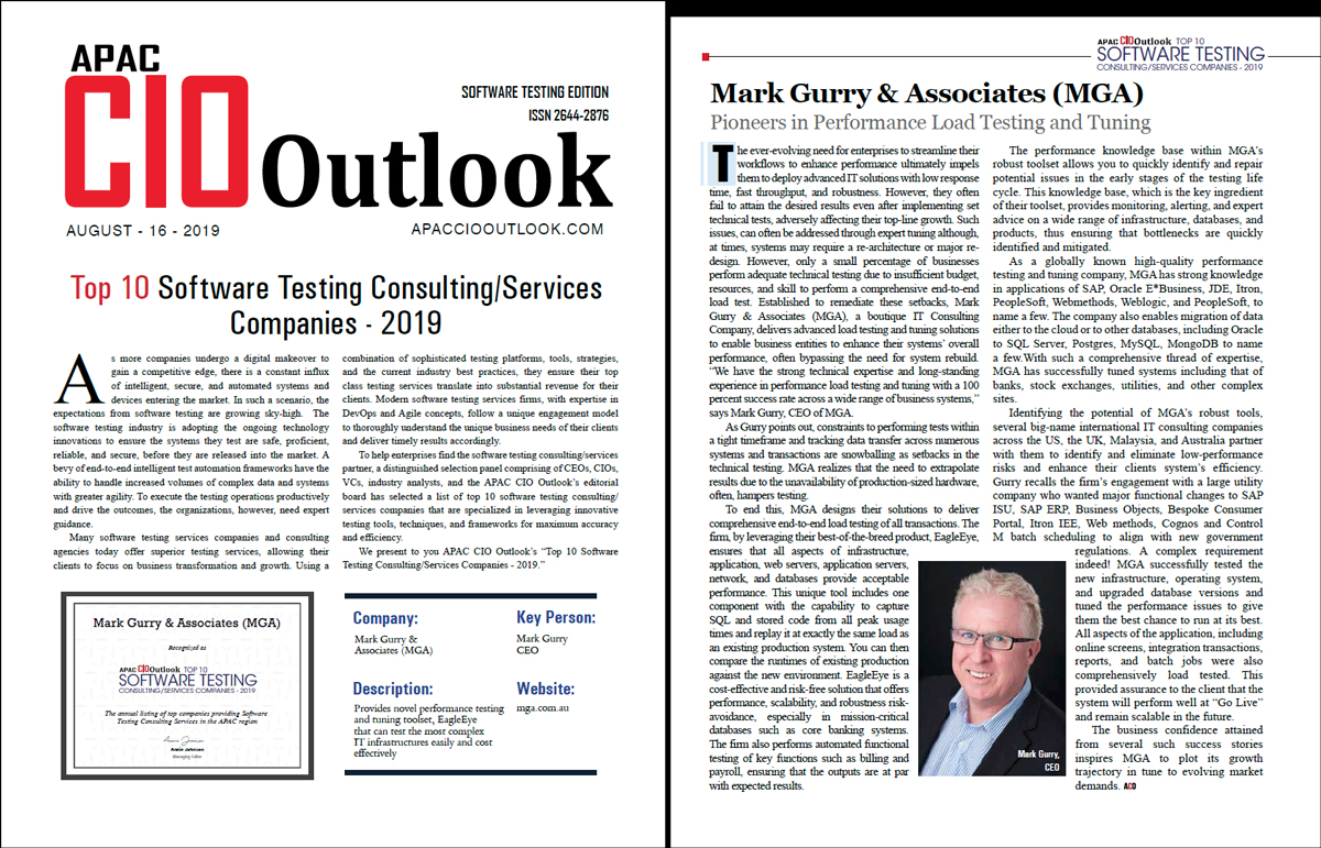 Mark Gurry featured in APAC CIO Outlook Magazine Aug 2019 - Oracle Special - 2 years running!